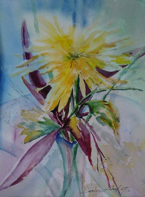 Yellow Watercolor Flower (K96)
