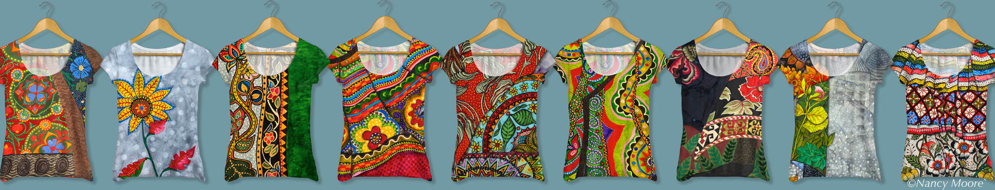 Here's a great way to see the detail in Nancy Moore's work.  We'd love to get these designs on some real shirts!