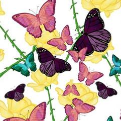 Butterflies, Yellow, Pink, Teal