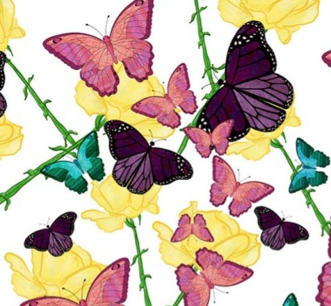 Butterflies, Yellow, Pink, Teal