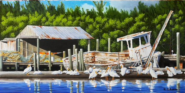 White Pelicans on the Dock