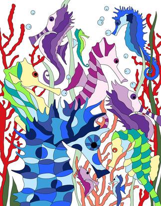 Seahorses - white background