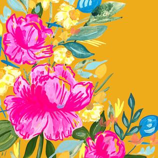 Wildflowers on Mustard Yellow Background