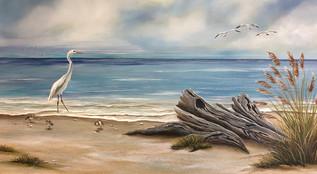 Drift In - Egret on Beach