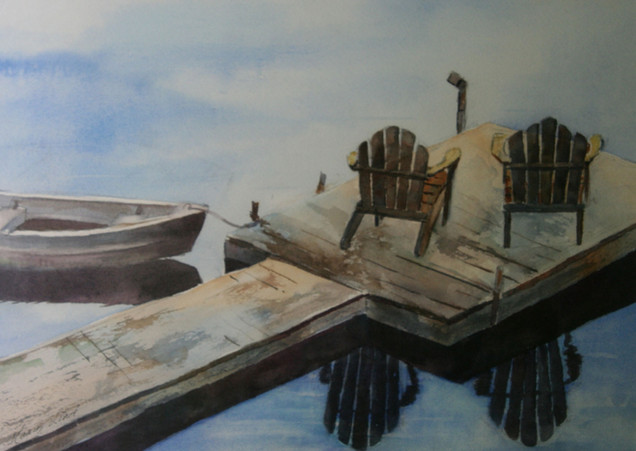 Adirondack Chairs and Boat on the Dock (