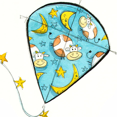 Cow Over the Moon Kite