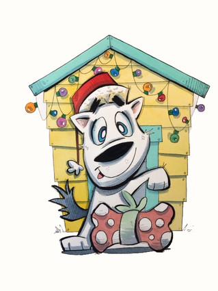 Christmas Dog Yellow Doghouse