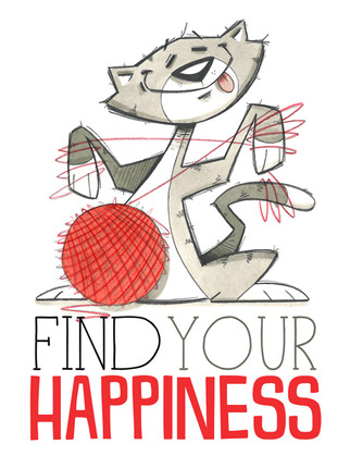 Find Your Happiness-3 (Cat with Yarn)