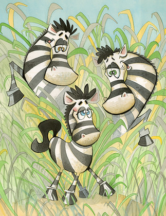 Zebrax in Tall Grass  (Jungle Collection