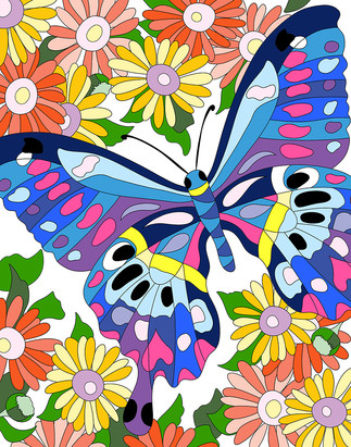 Big Butterfly with Daisies