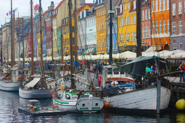Nyhavn Canal on a Rainy Day in Copenhagen