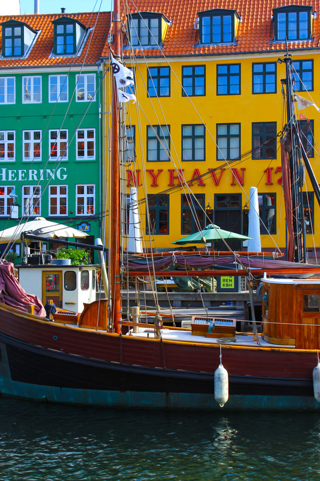 Nyhavn Canal Copenhagen with Antique Sailboat