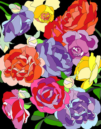 Roses-black background