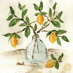 lemon branch vase 8x8