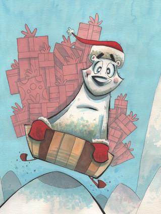 Christmas Polar Bear With Sled