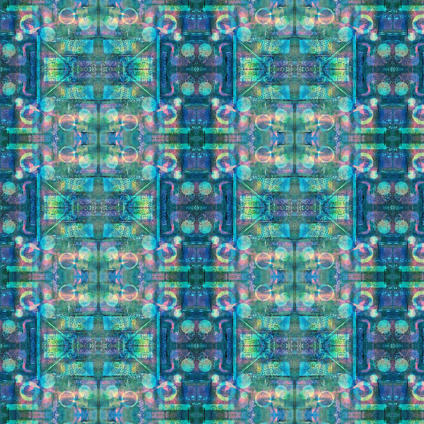 Blue and Teal Abstract Repeat Pattern (K