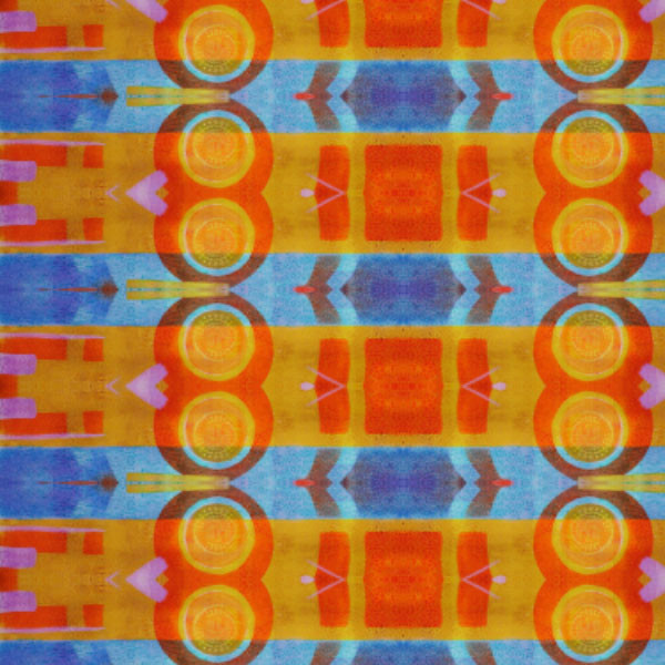 Orange, Blue Abstract Repeat Pattern (K-