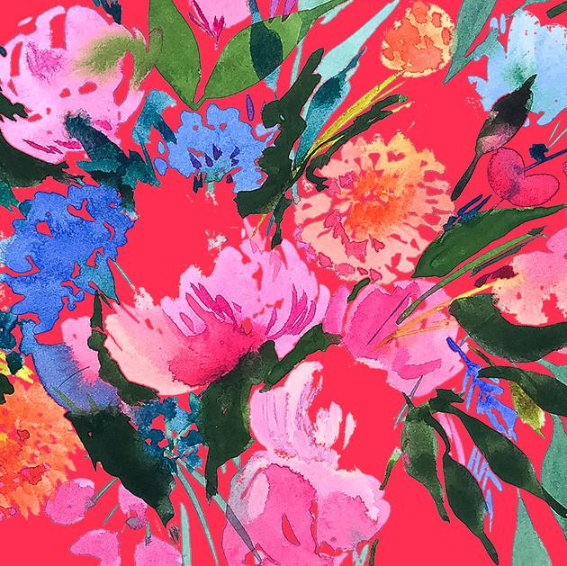 Wildflower Bouquet on Bright Pink