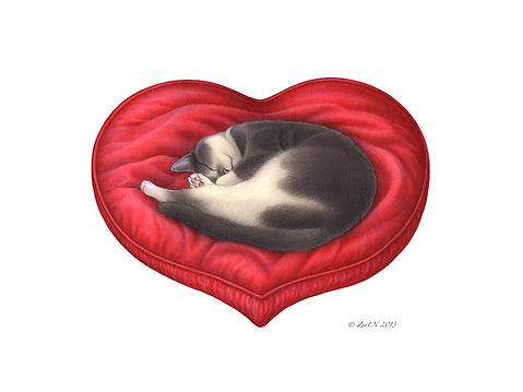 Sue Ellen Brown - Cat in Heart Pillow