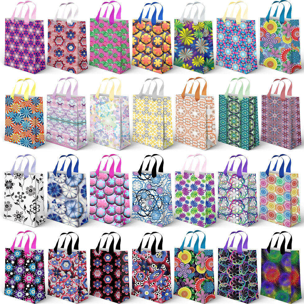 Geometric repeating patterns on gift bags.