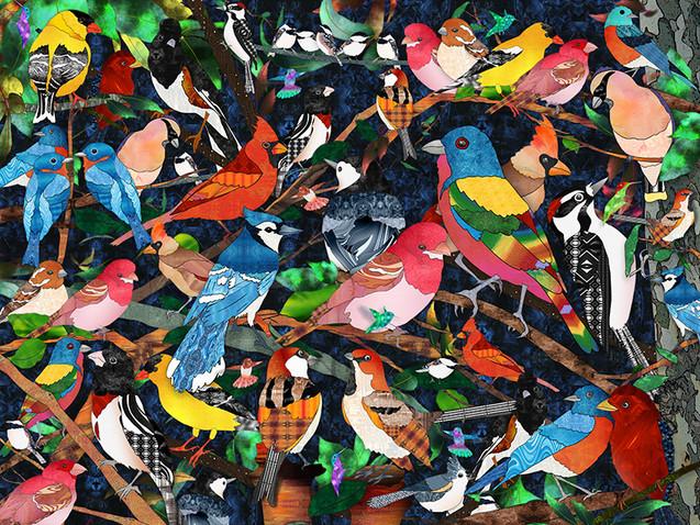 Bird Medley 3 - blue background