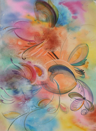 Abstract Watercolor Rainbow Flowers (K11