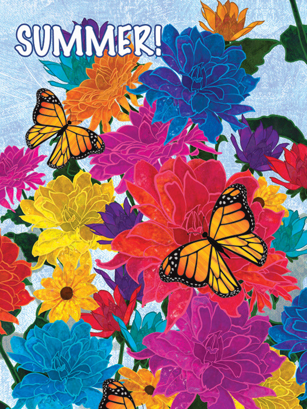 Monarch Butterflies and Flowers FL-2D
