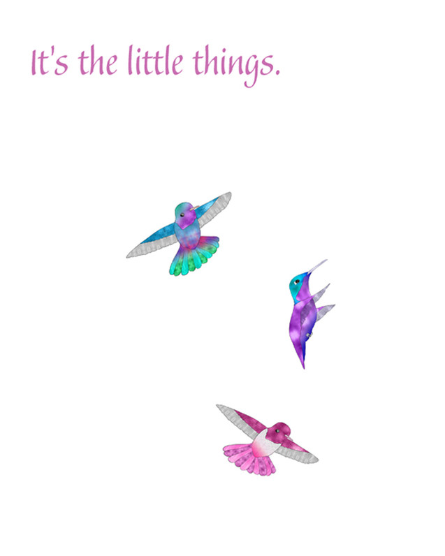 Three Happy Hummingbirds
