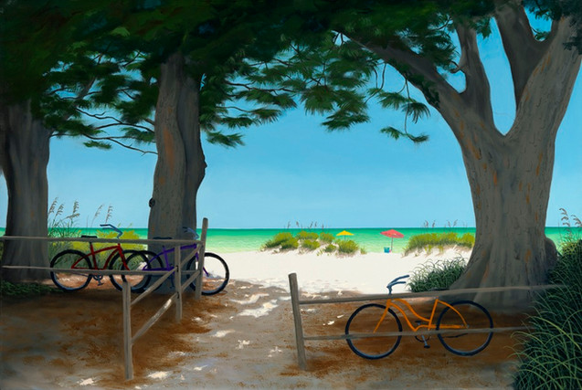 Beach with Bikes and Trees