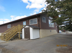 Storage shed and rear stairwell