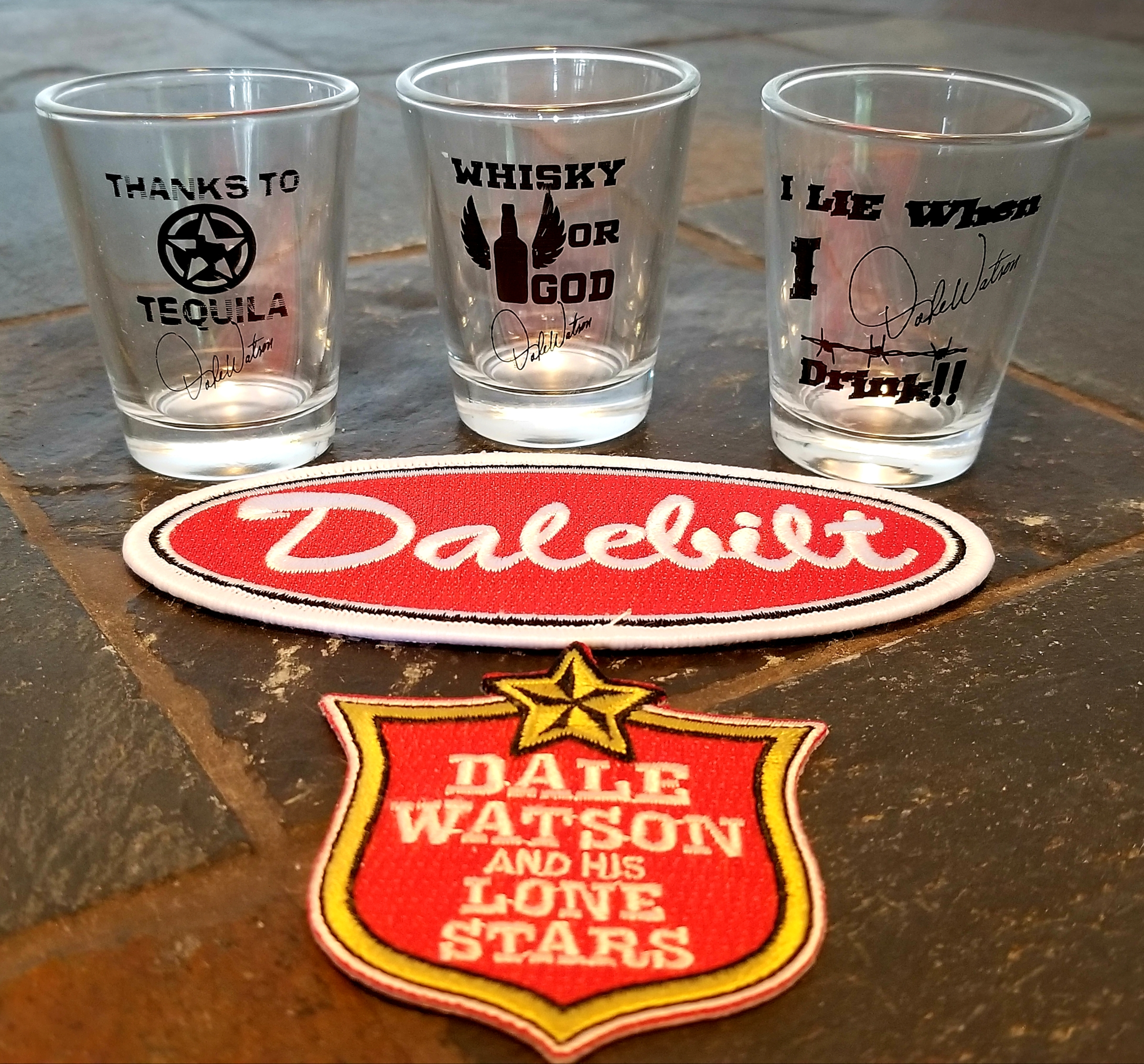 Custom shot glasses, patches, stickers