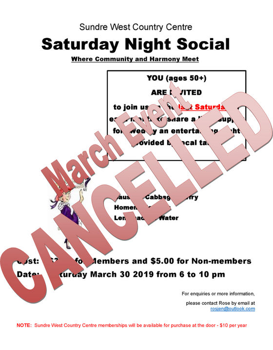 Saturday Night Social:  March Event - CANCELLED