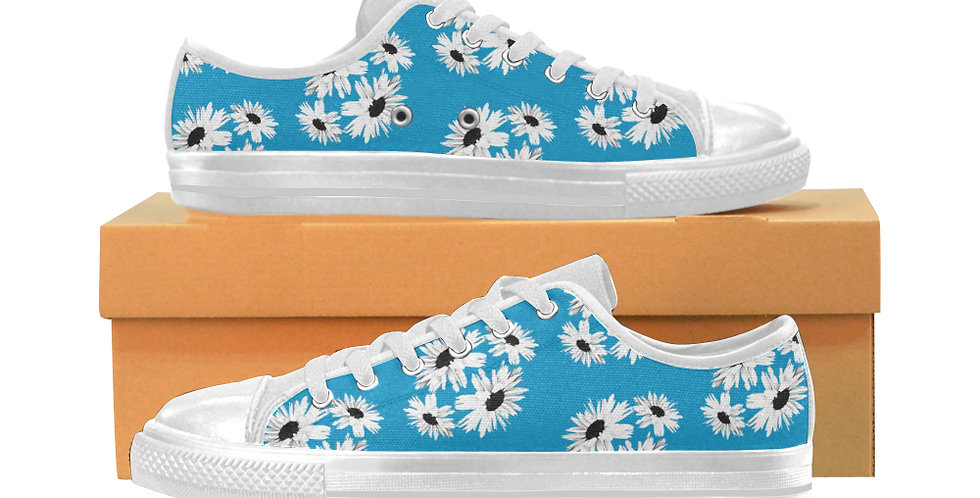 Bunch of Daisies Blue - Women's Canvas Sneakers