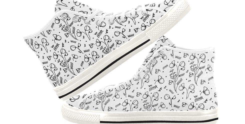 #sweetpealust White - Women's High Top Canvas Sneakers