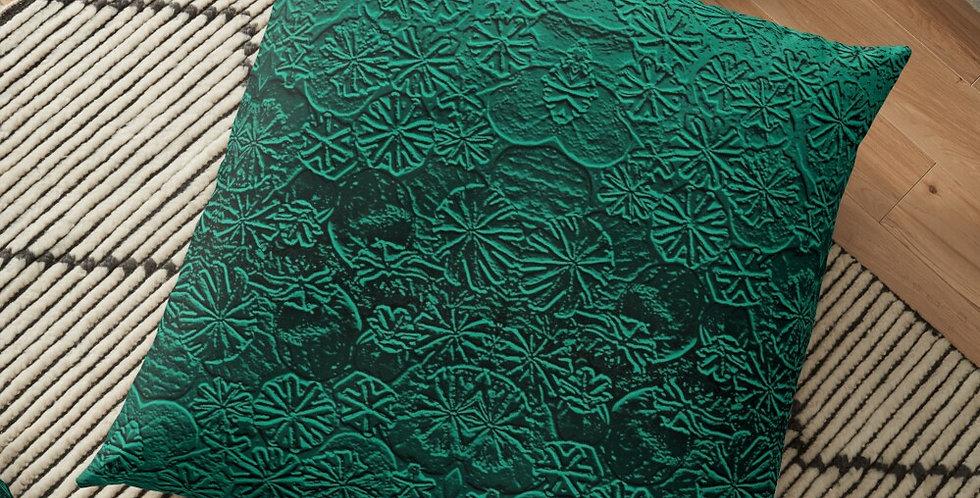 Metallic Poppies Emerald - Cushion Cover