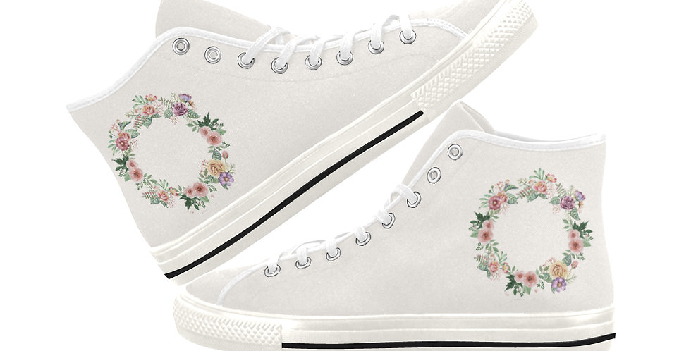 Floral Wreath - Women's High Top Canvas Sneakers