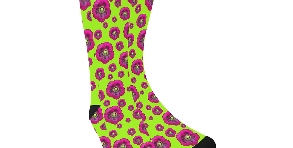 Poppies Lime Green/Purple - Unisex Socks (Made in Australia)