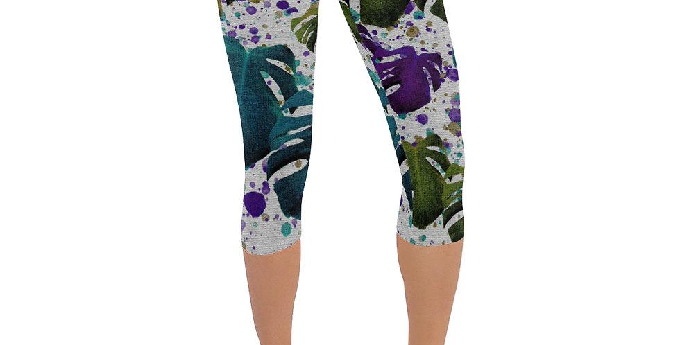 Monstera Leaves Purple/Teal - Leggings 3/4