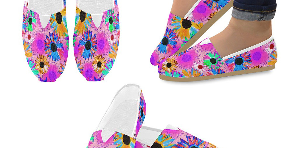 Wildflower Floral - Bright Pink - Slip On Canvas Shoes