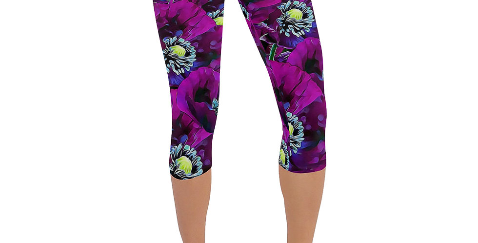Wild Purple Poppies - Leggings 3/4