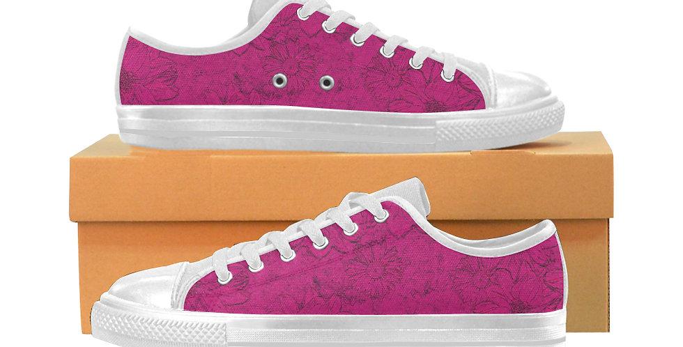 Embossed Floral Dark Pink - Women's Canvas Sneakers