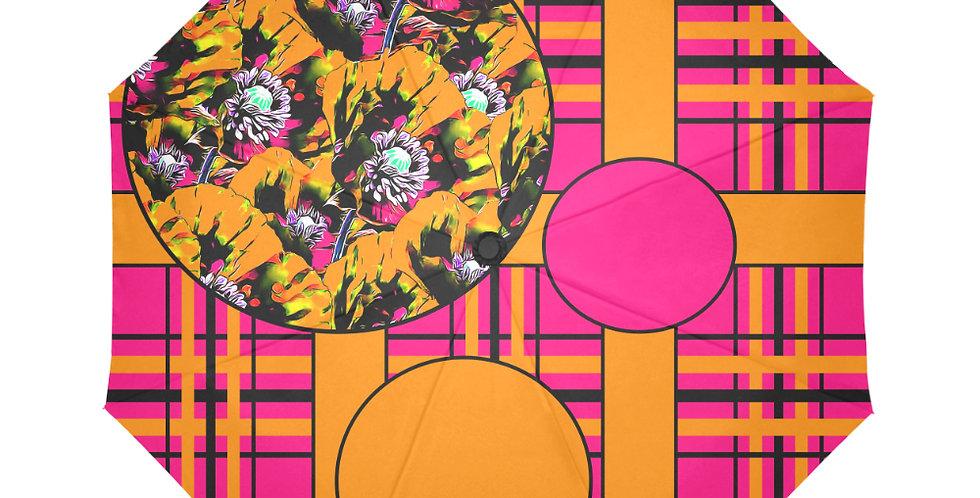 Tartan & Poppies - Orange & Pink - Pattern - Botanical Umbrella