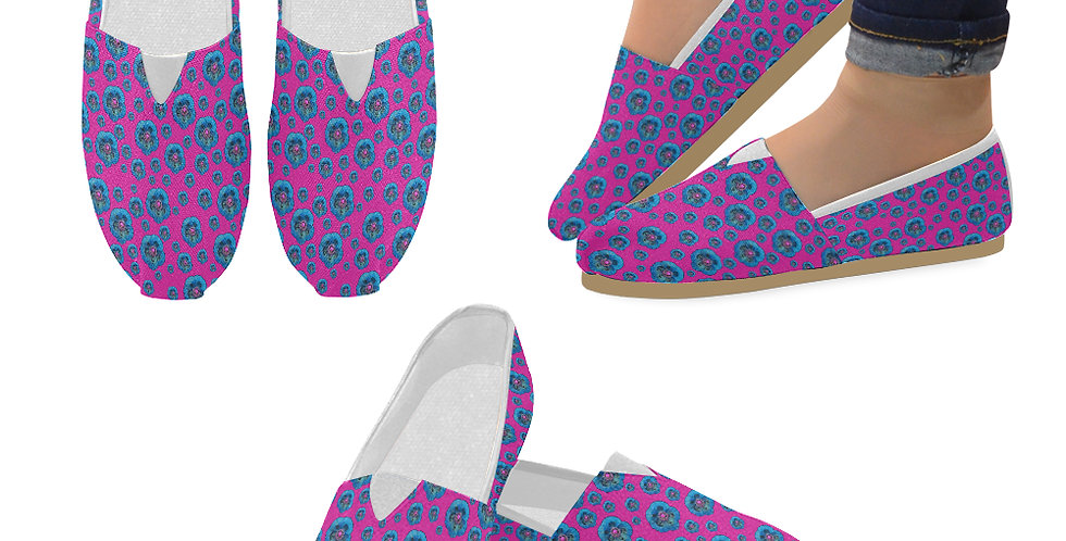 Poppies Hot Pink/Blue - Slip On Canvas Shoes