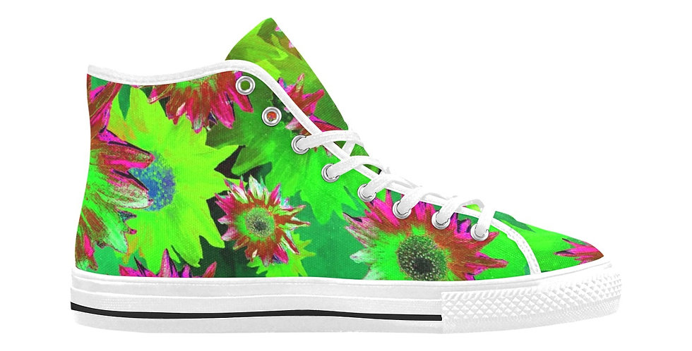 Strawflower Sizzle - Green/Pink - Women's High Top Canvas Sneakers