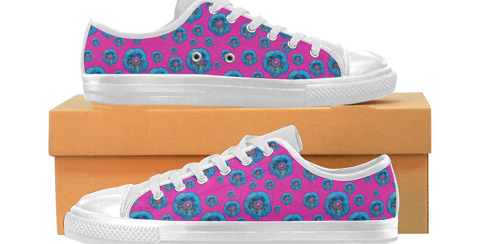 Poppies Pink/Blue - Women's Canvas Sneakers
