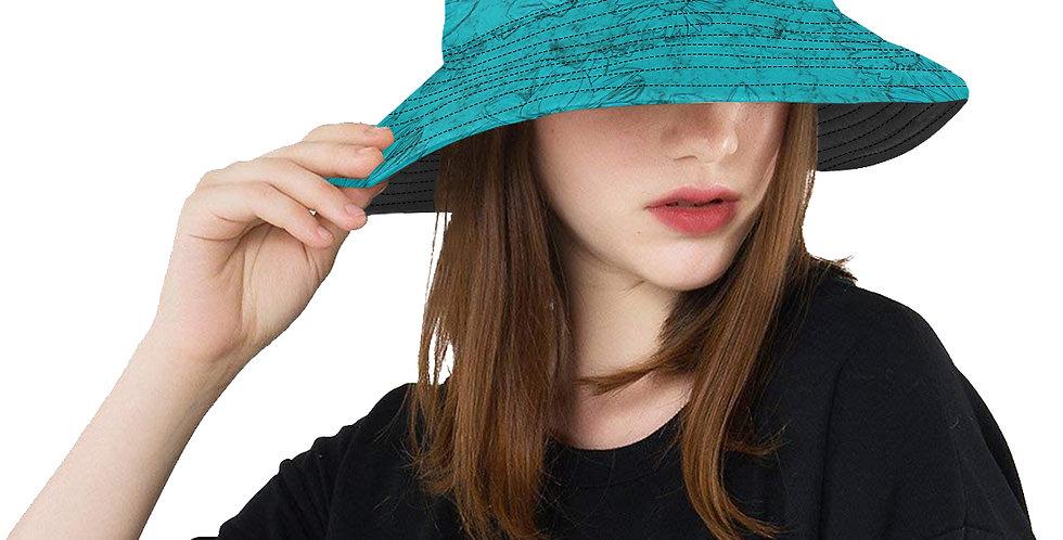 Embossed Floral Blue - Bucket Hat