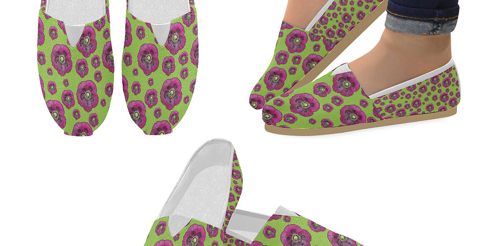 Purple Poppies - Slip On Canvas Shoes