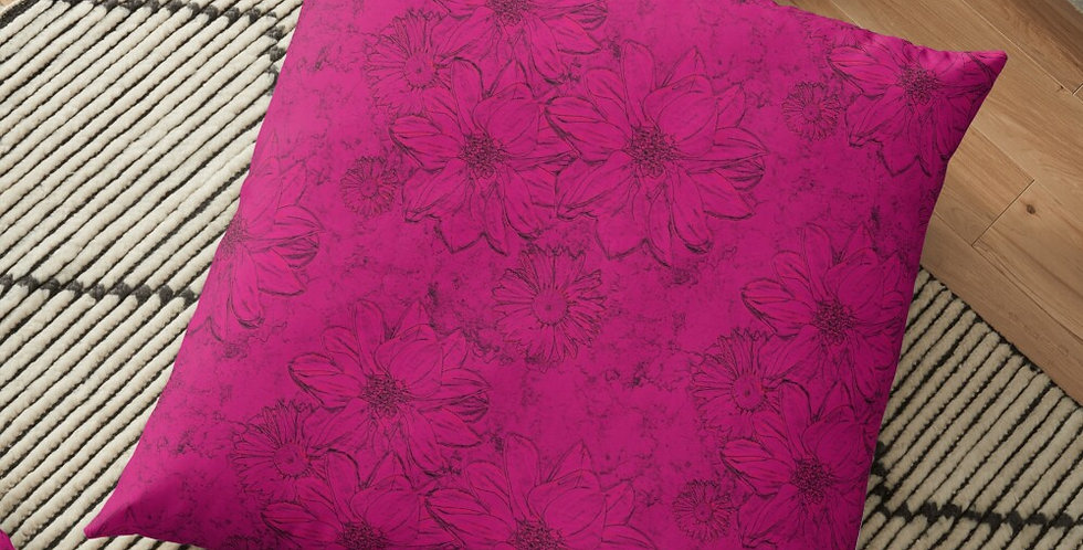 Embossed Floral Hot Pink - Cushion Cover