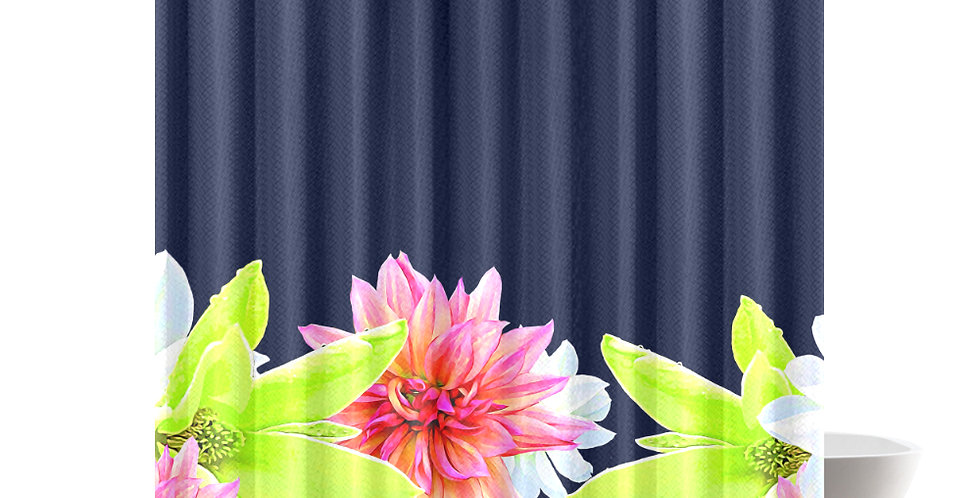 Magnolia Butterflies Boarder - Shower Curtain