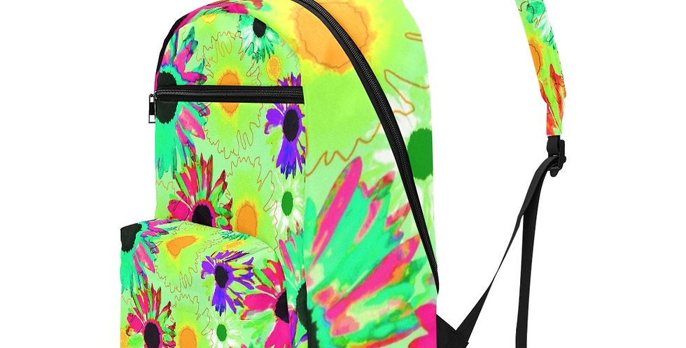 Wildflower Floral - Bright Green - Travel Backpack (Large Capacity)